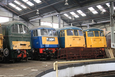 71001, 83012, 81002 & 85006 (85101) inside the roundhouse at Barrow Hill - 27/02/16.