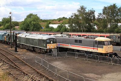 24054 / 82008 head lines of stored / preserved locos in the yard at Barrow Hill - 07/07/16.