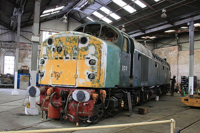 40012 inside the roundhouse at Barrow Hill, rubbed down and having some welding done in preparation for a much needed repaint - 07/07/16.