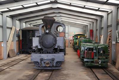 KS 3014/1916 (ex-France) & several diesel/petrol loco's inside Apedale loco shed - 28/10/17