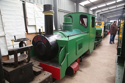 HU LX1001/1968 (ex-Woodhead Tunnel Sewage Works, rebuilt to steam outline for Pendine Wildlife Park & Devon Rly Centre, Tiverton), inside Apedale loco shed - 28/10/17