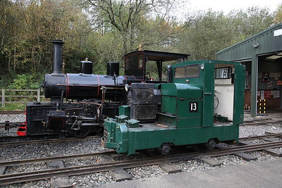 HC 1238/1916 'Ashanti Goldfields Corp (Ghana) No.9', & MR 11142/1960, '13, The Pilk' outside Apedale loco shed - 28/10/17