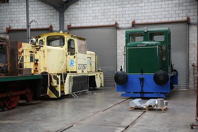 EEV 4003/1971 'ZZ 267' (Ex BP Baglan) & Bg 3410/1955 (ex-Bristol Mechanical Coal Co, Filton & Marston, and Thompson, & Everards, Burton) on display in the museum at Brownhills West - 15/07/17