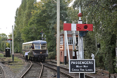 GWR Railcar W22 arrives at Burlescombe on the 'branch line' shuttle, the driver handing the token to the signal man - 23/09/17