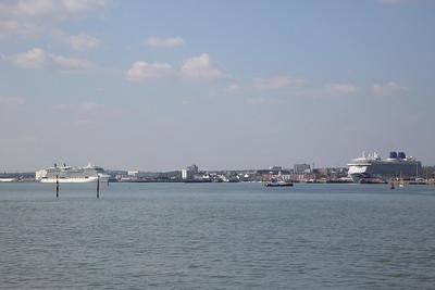 Cruise ships 'Celebrity Eclipse' & P&O's enormous new ship 'Britannia', Southampton Docks - 07/05/17.