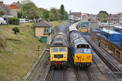 50026, Swanage, 11.16 to Norden .............. 47192 & 66741 await their turns later - 07/05/17.