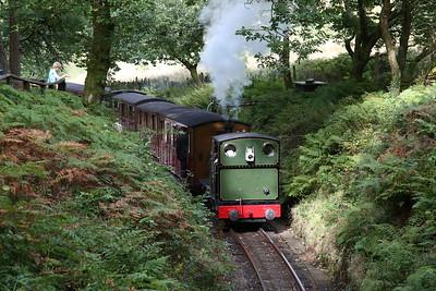 TR No.4 'Peter Sam' / 'Edward Thomas' dep Dolgoch Falls, 15.40 Nant Gwernol-Tywyn Wharf - 27/08/17