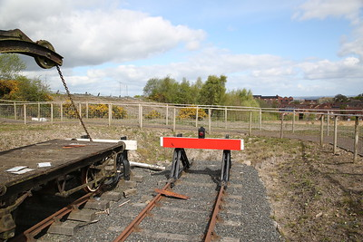 End of the recently-reinstated line at Lawley Village, and as can be seen its unlikely the railway will ever get any further in this direction - 15/04/17