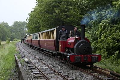 HE 680/1898 'George B', waiting in the loop at Llangower, 13.20 Bala-Llanuwchllyn - 16/06/18
