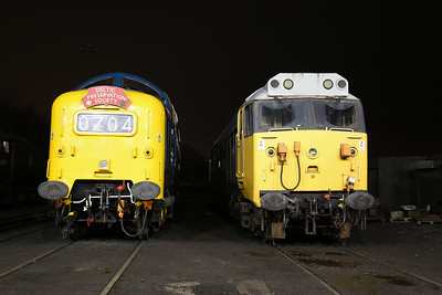 55009 & 50015 outside Baron Street shed - 11/04/18