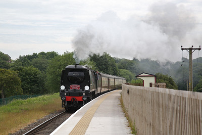 34092 passes Burrs Country Park with a Wedding Special bound for Rawtenstall - 09/06/18