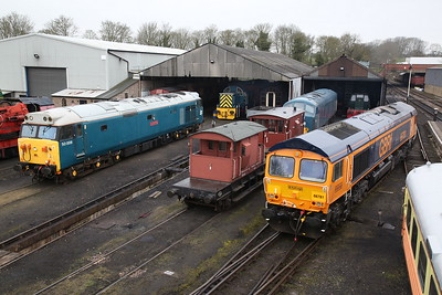 66781, Wansford Yard, moving off to work its passenger turn ..... 50008 / 46045 sit spare - 08/04/18