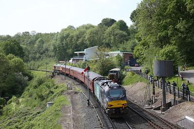 66726 dep Highley, 09.35 Bridgnorth-Kidderminster, 88010 brings up the rear - 18/05/18