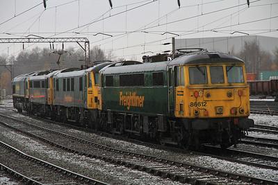 86612 / 90041 / 86632 / 66543 in Crewe Basford Hall Yard - 17/12/11.