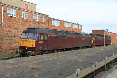 47786  / 47760 stand at Cleethorpes after working and ECS in for a steam tour earlier - 02/04/11