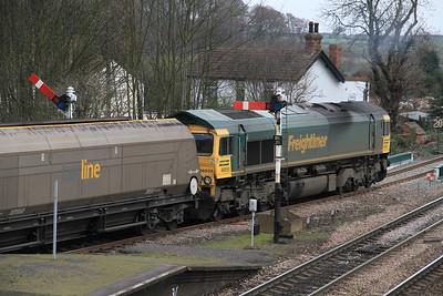 66555 leaves Barnetby on 4R15 08.45 Drax-Immingham Empty Coal - 02/04/11