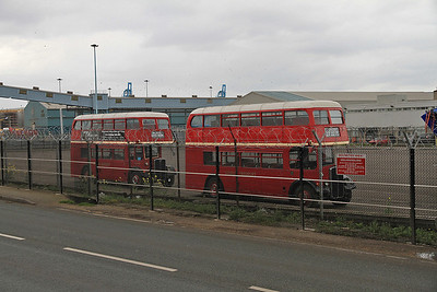 Old London buses parked up at Seaforth docks - 14/04/12.