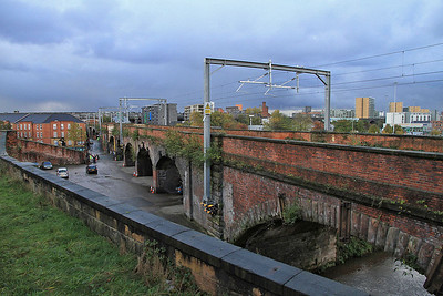 The view of towards Deansgate as we head into the MOSI site  - 03/11/13.