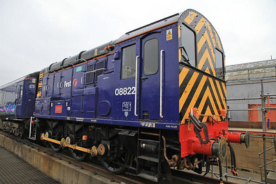 08822 on the rear of the special in the temporary platform in the Underframe Pit Siding  - 16/11/13.