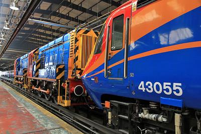 "43055 (providing ETS), 08908 / 08950 inside the Train Maintenance depot ready to depart on the ""The Neville Hill Navigator"" - 13/07/13."