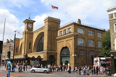 The frontage of Kings Cross station revealed after the recent refurb - very nice - 02/08/14.