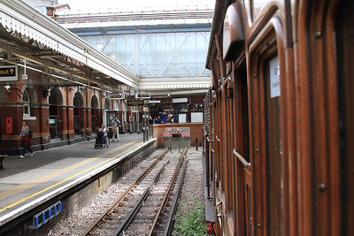 View out of the window of Met No.12 'Sarah Siddons' on the blocks at Hammersmith - 02/08/14.