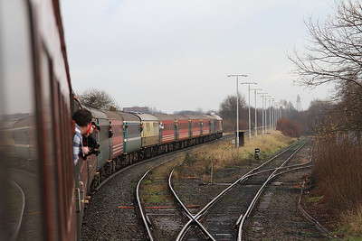 67016 heads into Latchford Sidings, 1Z73 - 03/01/15.