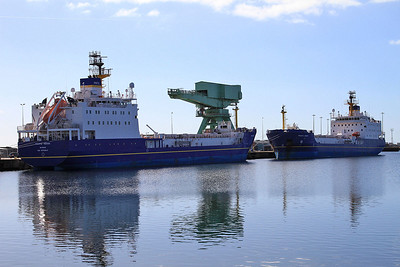 Nuclear Fuel Carriers 'Pacific Heron' and 'Pacific Egret' berthed at Ramsden Dock - these ships bring nuclear waste from Japan for reprocessing at Sellafield - 21/03/15.