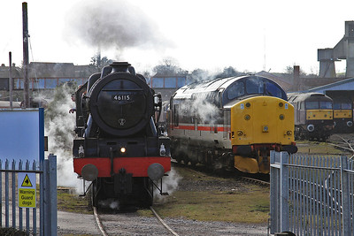 46115 ready to leave the WCRC yard at Carnforth for a railtour outing to Carlisle, 37518 on the right - 21/03/15.