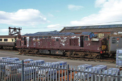 the stripped shell of 37214 in the WCRC yard at Carnforth - 21/03/15.