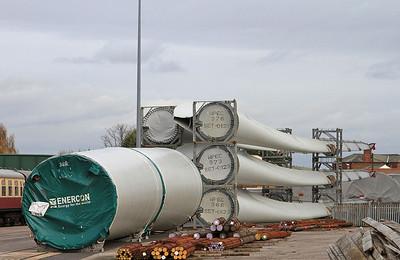 Some imported Wind Turbine parts await onward transit - 14/11/15.