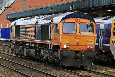 Brand new 66772 trundles through the centre road at Doncaster - 14/11/15.