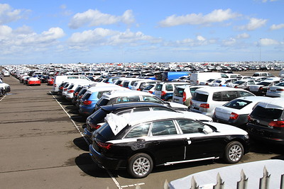 Plenty of new German-built cars having just landed in the UK here at Grimsby and awaiting onward shipment to the dealers .......... cool to think that my new Golf was parked here just a few weeks ago ! - 11/04/15.