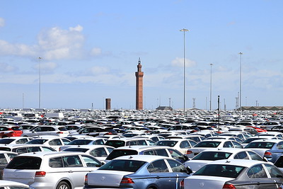 The famous Grimsby Dock Tower seemingly surrounded by newly imported German-built cars - 11/04/15.