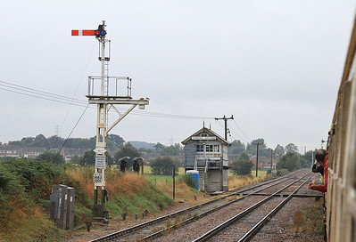 View of Thoresby Colliery signalbox from the sidings - 31/08/15.