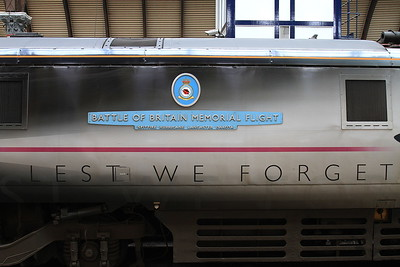 Special 'Lest we forget' livery & name applied to 91110 to commemorate the 75th anniversary of the Battle of Britain - 31/08/15.