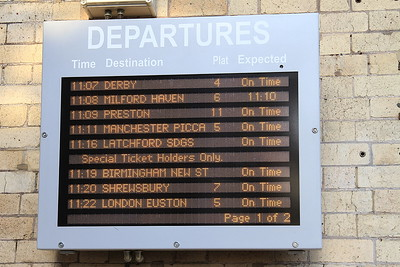 Departure board at Crewe - not often you see a train to Latchford Sidings ! - 30/01/16.