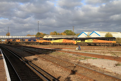 66749, 66755, 66850, 70810 & 66849 stabled at Eastleigh - 05/11/16.