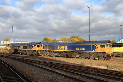 66749 & 66755 stabled at Eastleigh - 05/11/16.