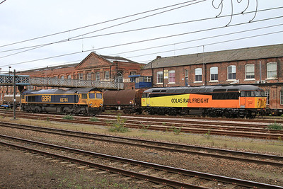 66744 & 56096 stabled at Doncaster - 29/10/16.