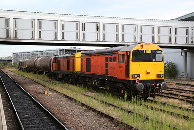 20311 + 20314 (with 20905 + 20107 rear) stabled at Derby with the barrier wagons used for the EMU moves that these locos are currently used on - 15/07/17