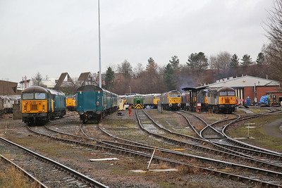 Passing Leicester depot, now having a new lease of life as the home of UK Rail Leasing with its impressive fleet of 56's - 29/12/17.