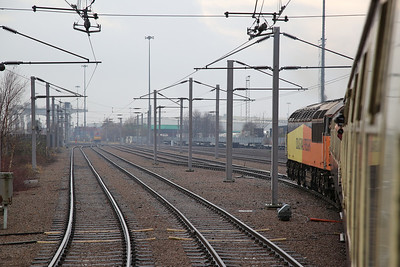 56094 arriving at Trafford Park Euro Terminal, 1Z25 ..... 60017 can be seen waiting to take over - 16/12/17.
