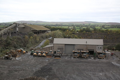An impressive array of diggers and trucks in the limestone quarry at Ribblesdale Cement Works - 30/09/18