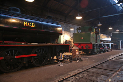 WB 2779/1945 'No.20' and RSHN 7098/1943 'No.49' create an atmospheric scene inside Marley Hill shed - 25/02/18