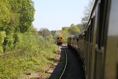 1Z20 in Mountfield Sidings ..... 20205 & 20189 have just been removed (to run round) and 73963 & 73141 have backed on - 05/05/18