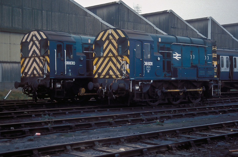 08830 and 08831 sit awaiting their next duties in Fratton Yard on 29 November 1986