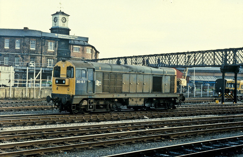 20157 is seen in front of the BREL workshops at Derby on 24 November 1982