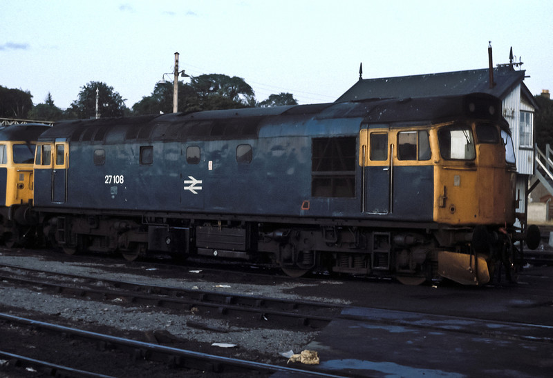 27108 is stabled outside Inverness depot on 19 July 1984