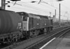 25283 pauses at Warrington Bank Quay as it works a collection of tanks south on 30 September 1985